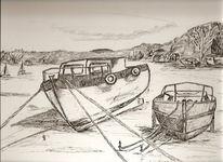 Meer, Landschaft, Feder, Boot