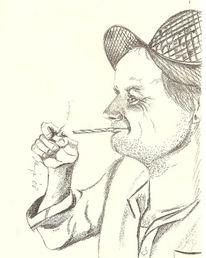 Zeichnung, Rauchen, Portrait, Mann
