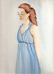 Frau, Figural, Blau, Malerei