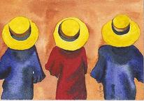 Gelb, Figural, Rot, Blau