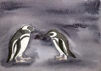 Dunkel, Zoo, Tiere, Pinguin