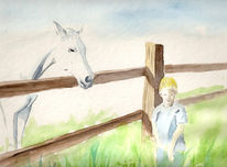 Pferde, Natur, Landschaft, Aquarellmalerei