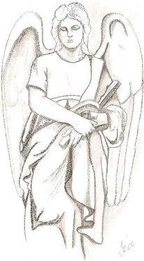 Zeichnung, Bleistiftzeichnung, Engel, Zeichnungen