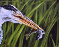 Fischreiher, Airbrush, Malerei, Figural