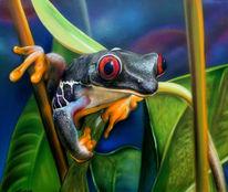Malerei, Airbrush, Frosch, Sprühdose