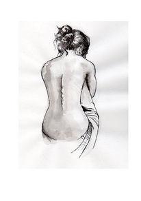 Akt, Tuschmalerei, Zeichnung, Lavierung