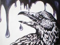 Acrylmalerei, Tropfen, Rabe, Malerei