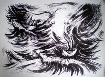 Meer, Lithografie, Sturm, Welle