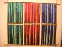 Rahmen, Bambus, Farben, Gold