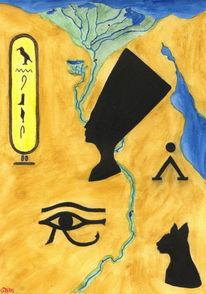 Wüste, Ägypten, Aquarellmalerei, Malerei