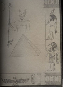 Skizze, Bleistiftzeichnung, Ägypten, Kreativ