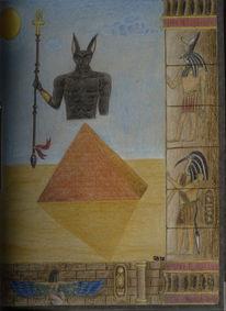 Ägypten, Buntstifte, Malerei