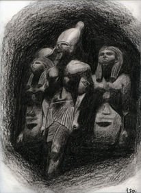 Malerei, Kohlezeichnung, Aquarellmalerei, Ägypten