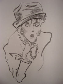 Zeichnung, Portrait, Zeichnungen, Dame
