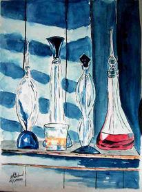 Aquarellmalerei, Malerei, Stillleben, Whisky