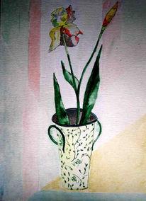 Blumen, Stillleben, Malerei, Vase