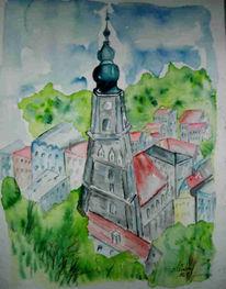 Aquarellmalerei, Malerei, Altstadt, Burg