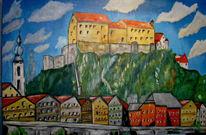 Ölmalerei, Malerei, Burg, Altstadt