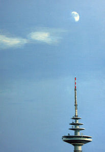 Turm, Mond, Blau, Acrylmalerei