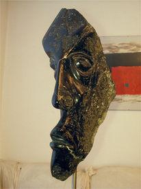 Skulptur, Kopf, Stein, Mann