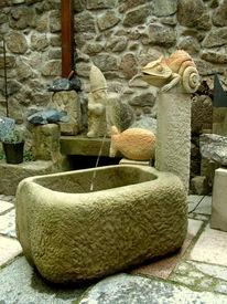 Brunnen, Skulptur, Tiere, Cameläon