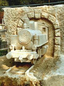 Stein, Technik, Lokomotive, Skulptur