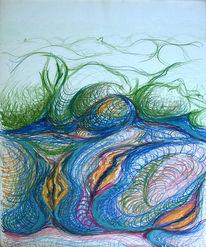 Buntschtifte, Zeichnung, Blau, Fantasie