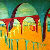 Architektur, Brücke, Gemälde, Fantasie
