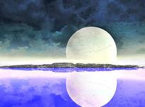 Dunkel, Mond, Vektor, Abstrakt