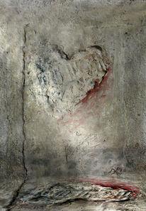 Herz, Rot, Textur, Stimmung