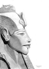 Statue, Portrait, Bleistiftzeichnung, Skizze