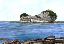 Wasser, Aquarellmalerei, Stein, Blau