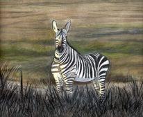Pastellmalerei, Landschaft, Tiere, Natur