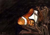 Aquarellmalerei, Fisch, Tiere, Seeanemonen