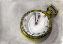 Pastellmalerei, Uhr, Grau, Stillleben