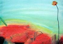 Malerei, Blumen, Temperamalerei, Rot