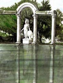 Wasser, Wald, Aquarellmalerei, Statue