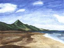 Aquarellmalerei, Strand, Wiese, Wasser