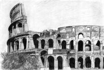 Rom, Bau, Bleistiftzeichnung, Architektur