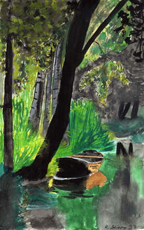 Baum, Wald, Schiff, Aquarellmalerei
