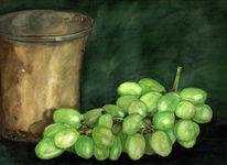 Becher, Stillleben, Aquarellmalerei, Trauben