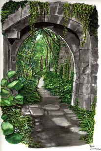 Bogen, Wald, Weg, Aquarellmalerei
