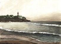 Wasser, Himmel, Leuchtturm, Strand