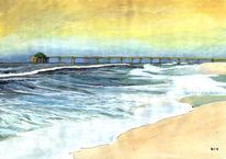 Himmel, Strand, Grafik, Welle