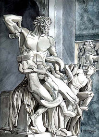 Mann, Akt, Statue, Aquarellmalerei