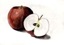 Apfel, Essen, Aquarellmalerei, Aquarell