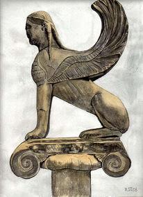 Stein, Aquarellmalerei, Grau, Braun