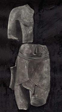 Alt, Schwarz, Menschen, Statue