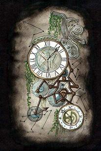 Zeiger, Technik, Aquarellmalerei, Uhr