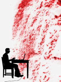Rot schwarz, Reporter, Autor, Scherenschnitt